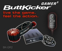 "The ButtKicker Gamer2 package features a chair-mounted (single post type) tactile transducer that lets you really ""live the game"""
